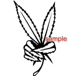 WEED PEACE SIGN WHITE VINYL DECAL STICKER