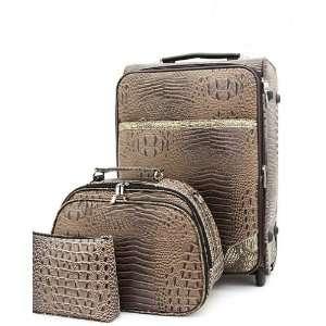 Alligator Print Rolling Luggage, Train & Travel Sling Electronics
