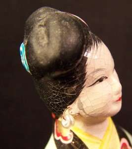 Antique Chalk Ware Japanese Lady Geisha 5 Tall Hand Painted Delicate