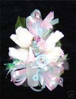 Baby Shower Corsage baby Socks Pink & Blue Ribbons