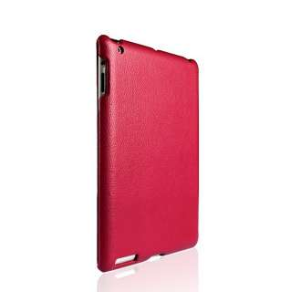 Hot Pink Purple Leather Smart Case Cover For iPad 2
