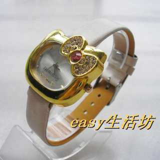 bowknot hellokitty crystal Quartz watches Leather watchband girl watch