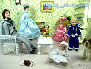 12 Dollhouse The Family Dad Mom Boy Girl Baby 5 Dolls