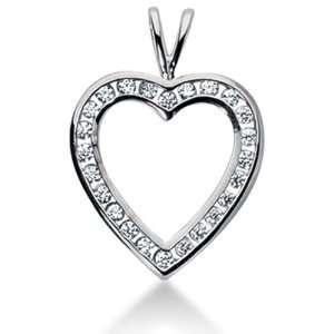14K Gold Channel set Diamond Heart Pendant (0.72 cttw, F