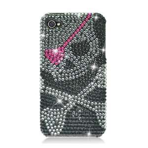 Silver Skull with Pink Eye Patch on Black Rhinestones