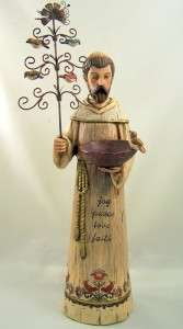 Huge Wood Carved Styling Saint St Francis Garden Figurine Statue Bird