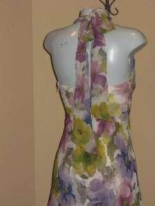 DONNA RICCO Purple Silk Floral Halter Summer Dress 8