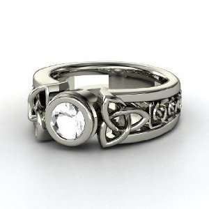 Celtic Sun Ring, Round Rock Crystal 14K White Gold Ring Jewelry