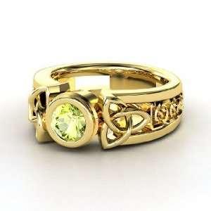 Celtic Sun Ring, Round Peridot 14K Yellow Gold Ring Jewelry