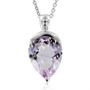 Pear Shaped Natural Amethyst Necklace Pendant in Sterling Silver  7.50