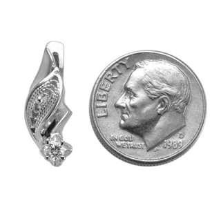 RUSSIAN JEWELRY 14K W. GOLD GENUINE DIAMOND EARRINGS FREE Worldwide