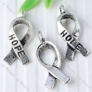35pc Tibetan Silver Tone Carved Hope Ribbon Charms Pendant Findings