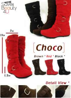 Womens Fashion Classic Mid Calf Faux Leather WIth Buckle Boots   Choco