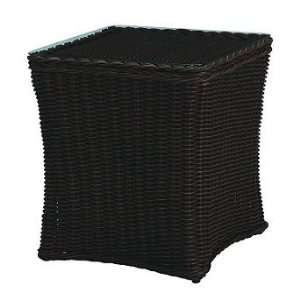 Sedona Outdoor End Table with Glass Top   Frontgate, Patio