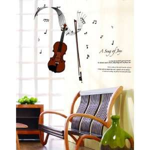 Large a Song of Joys Music Guitar Wall Sticker Decal for