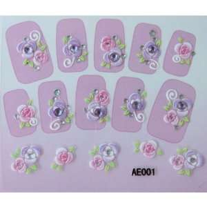 YiMei Hot selling nail decals stereoscopic 3D purple diamond nail