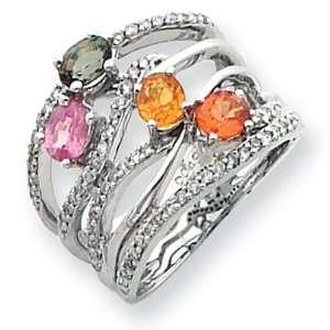 14k White Gold Diamond & Multi Colored Sapphire Ring Jewelry