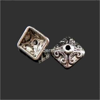 A521/ 45Pcs Tibetan silver crafted square bead caps