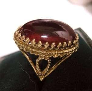 ANTIQUE ETRUSCAN 10K GOLD HUGE 15ct BOHEMIAN GARNET CARBUNCLE RING