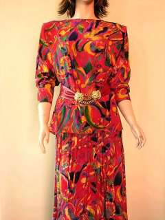 Hanae Mori Silk Skirt Suit Mod Abstract Pop Art  Size 14
