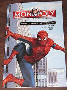 MONOPOLY SPIDER MAN Board Game Parts: INSTRUCTIONS Manual Special
