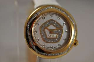 NEW GRUEN SWISS OVER 85 GENUINE DIAMONDS MOTHER PEARL DIAL LOGO WATCH