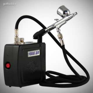 New Airbrush Kit Air Compressor Gravity Feed Dual Action Spray w/ Hose
