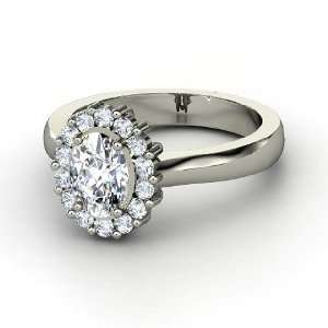 Princess Kate Ring, Oval Diamond 14K White Gold Ring
