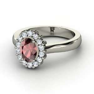Princess Kate Ring, Oval Red Garnet 14K White Gold Ring with Diamond