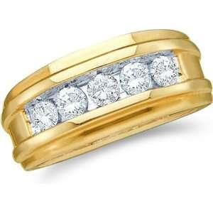 Channel Set Round Cut Mens Diamond Wedding Ring Band 8mm (1/4 cttw