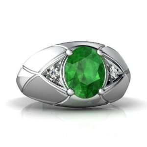 14K White Gold Oval Genuine Emerald Mens Mens Ring Size 7 Jewelry