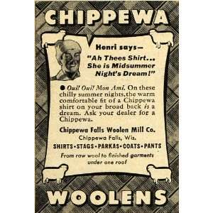Ad Chippewa Falls Woolen Mill Co. Winter Clothing   Original Print Ad