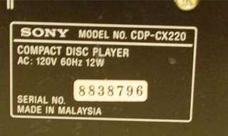 Sony 200 Disc CD Changer Player CDP CX220