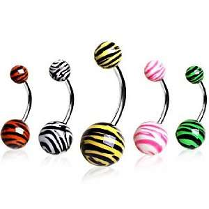 Surgical Stainless Steel Belly Button Ring Barbells with Pink Zebra