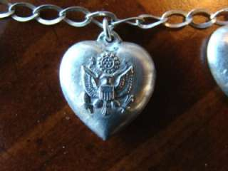 Lovely Old Sterling Silver PUFFY Embossed HEARTS CHARM BRACLET