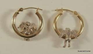 Yellow Gold & 925 Sterling Silver Cherub Angel Hoop Earrings