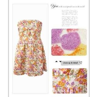 Sexy Strapless Multi Color Spring Floral Print Cotton Mini Dress