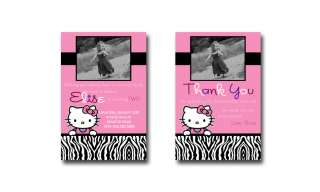 Custom Hello Kitty Zebra Print Birthday Invitations   You Print