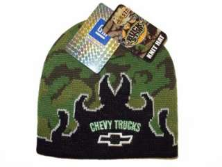 CHEVY TRUCKS FLAMES CAMO SKULLY CAP KNIT BEANIE HAT