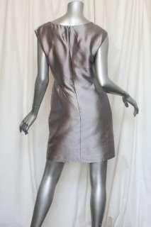 CHRISTIAN DIOR Grey SILK Satin Short Luxe Shift Dress 8