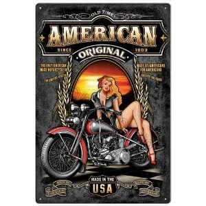American Classic Motorcycle Pinup Girl Nostalgic Tin Metal
