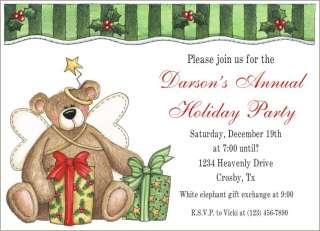 TEDDY BEAR ANGEL Holiday Christmas Party Invitations
