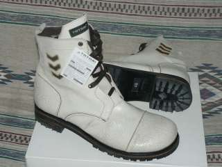 White Antiqued Crackled Leather Combat Boots Men Shoes 46 13