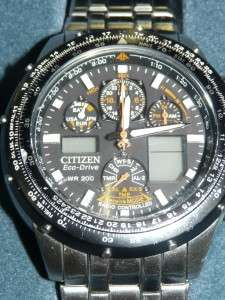 Citizen Skyhawk Eco Drive Mens Watch   Needs New Crown And Stem