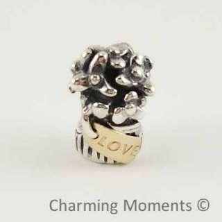 New Authentic Pandora Two Tone Silver & Gold Charm Love Bouquet 790441