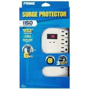 002130 8 Outlet 1150 Joule Surge Protector with Alarm and 6 Foot Cord