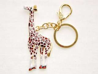 Painted Spot Enamel Crystal Rhinestone Long Neck African Giraffe Hook