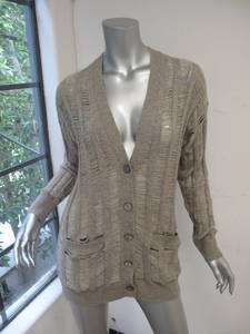 360 Cashmere Gray Long Sleeve Shredded Button Down Cardigan S