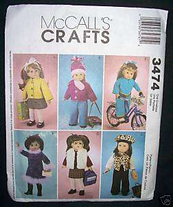 American Girl 18 Doll Clothes Wardrobe Sewing Pattern McCalls