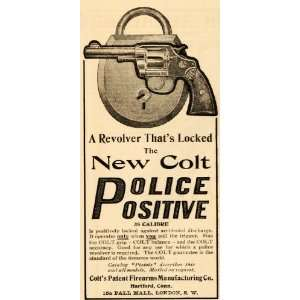 1905 Ad 38 Calibre Colt Revolver Police Firearms Locked   Original